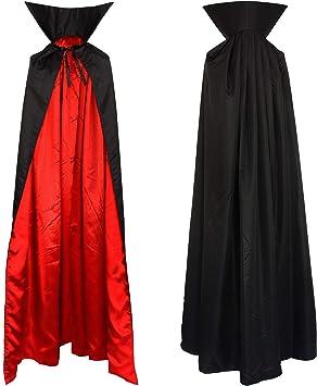 Vampiro Cuello Capa Manto Adultos Negro Rojo Disfraz 1,6m: Amazon ...
