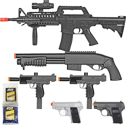 Amazon Com Bbtac Airsoft Gun Package Black Ops Collection Of Airsoft Guns Powerful Spring Rifle Shotgun Two Smg Mini Pistols And Bb Pellets Great For Starter Pack Game Play