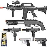 BBTac Airsoft Gun Package - Black Ops - Collection of Airsoft Guns - Powerful Spring Rifle, Shotgun, Two SMG, Mini…