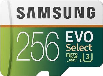 TALLA 256 GB. Samsung EVO Select 256 GB microSD 100 MB/s, Velocidad, Full HD & 4K UHD, Tarjeta de Memoria Incluye Adaptador SD para Smartphone, Tablet, cámara de acción, dron y portátil