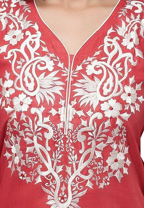 Jayayamala Red hot Tunika mit Halb weißen Faden Arbeit Baumwolle  Tunikabluse Dame-Parteiabnutzung oben: Amazon.de: Bekleidung