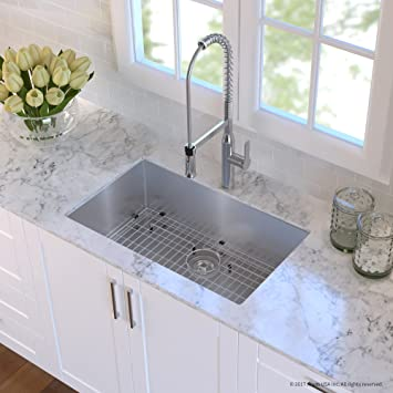 Kraus Khu100 30 1650 41ss Stainless Steel 30 Combo With Handmade Undermount Single Bowl 16 Gauge Sink And Nola Commercial Kitchen Faucet With Soap Dispenser Amazon Com