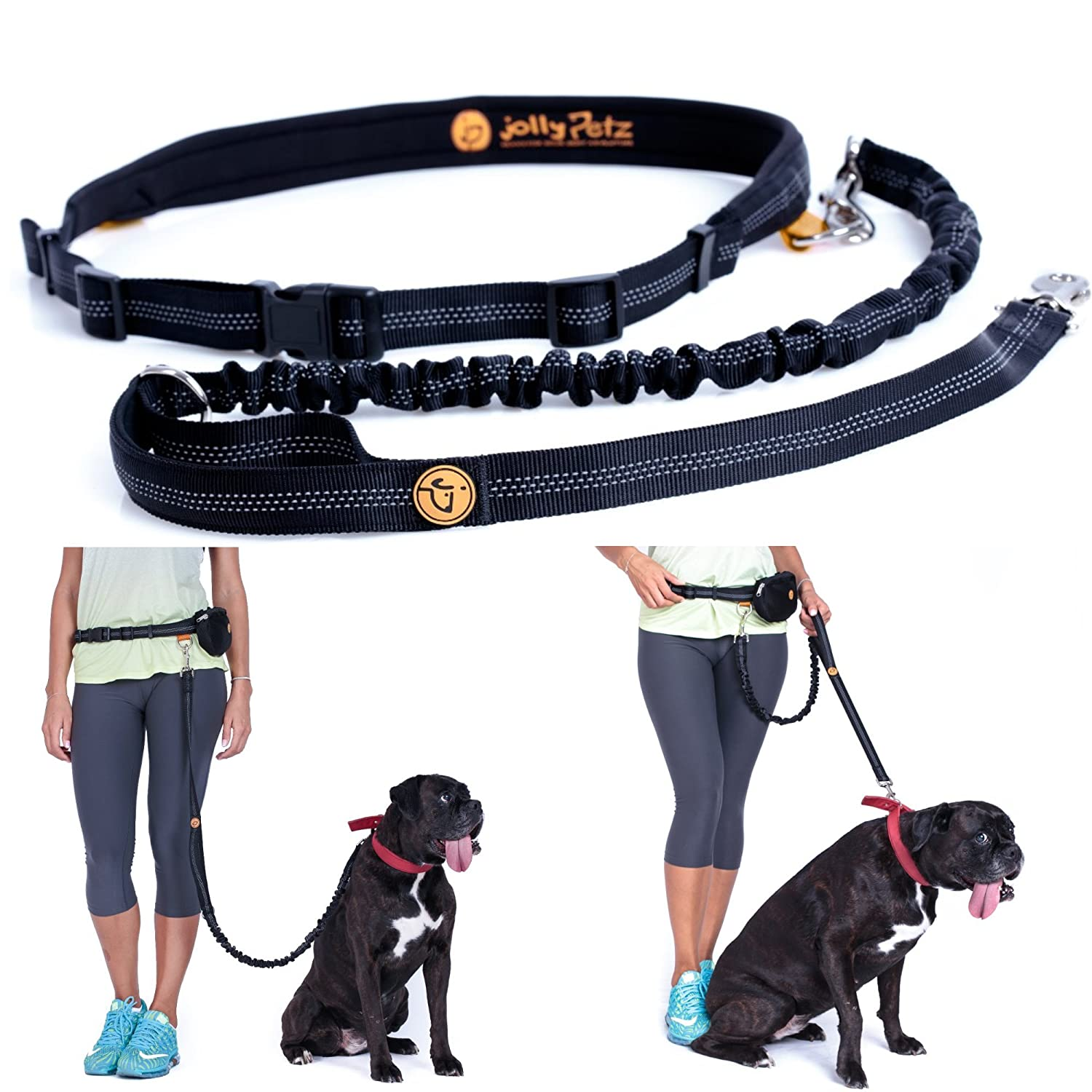 Jollypetz Best Bungee Dog Leash with Adjustable Waist Belt, Perfect Dog Hiking Gear and for Walking and Running Hands Free, BONUS Light Pouch Accessory and FREE EBOOK with Exercising and Training Tips