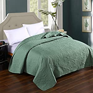HollyHOME Super Soft Solid Single Bed Quilt Bedspread Comforter Bed Cover, Floral Pattern, Sage, Twin