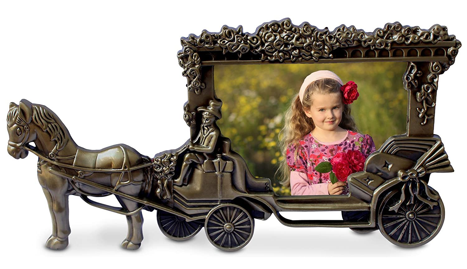 Olivery™ Horse Carriage Photo Frame - 3.5 X 5 Picture Frames - Cute Tin Alloy & Glass Home Decor - Great Baby Gift, Wedding Gift & More 【Lifetime Warranty】 Olivery Pure Living Inc.