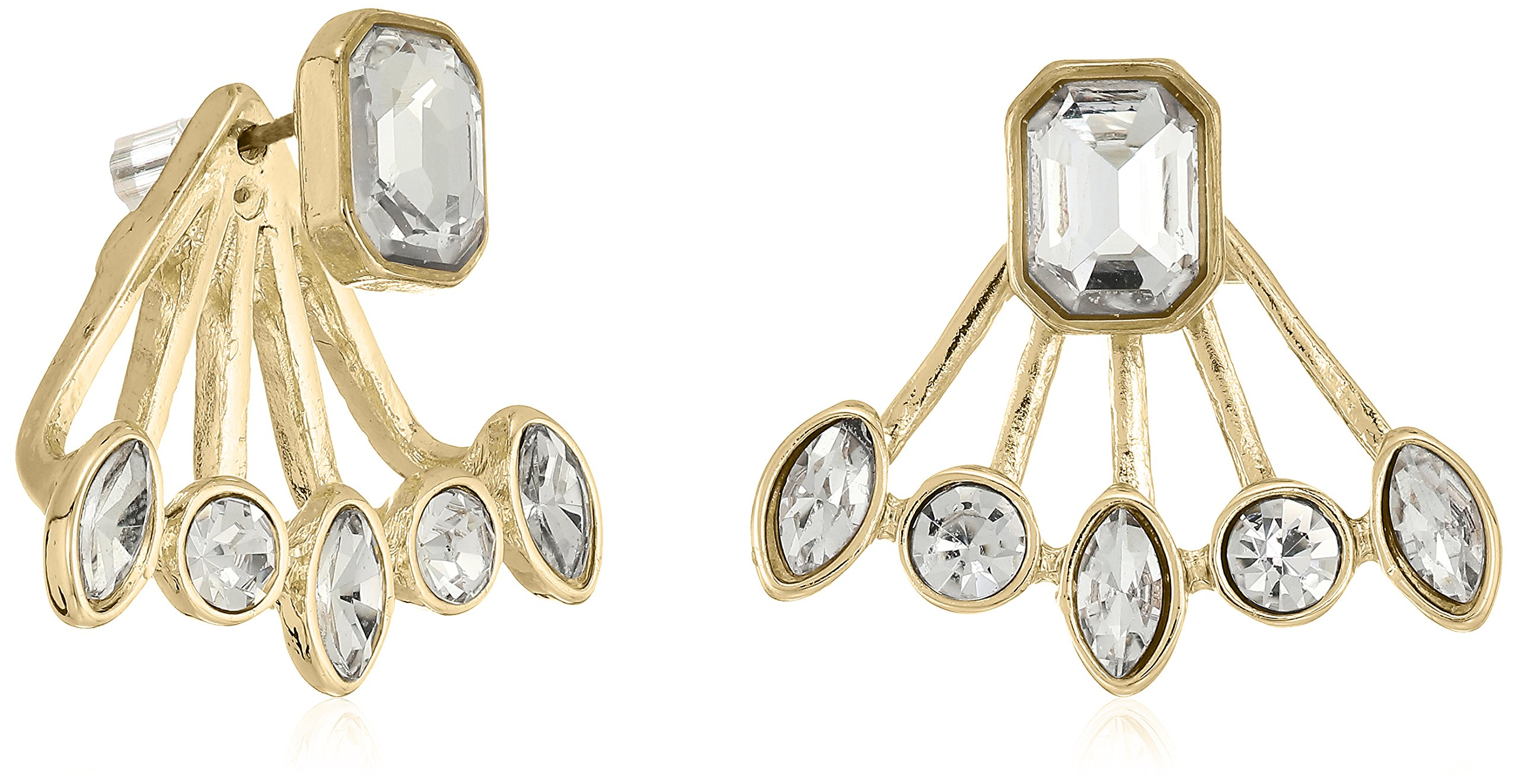 T Tahari Womens Essentials Front Back Post Earrings Jacket With Stones, Gold/Crystal, One Size