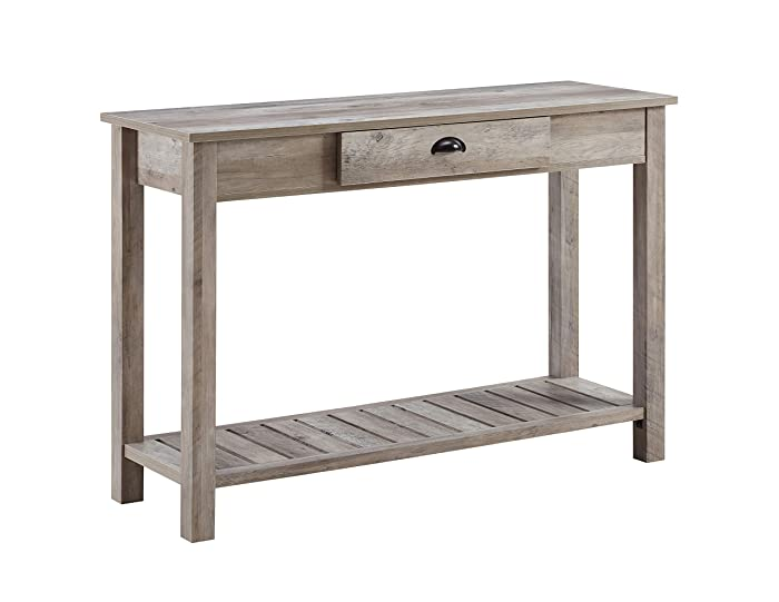 WE Furniture AZF48CYETGW Country Style Entry Console Table, 48 Inch, Grey
