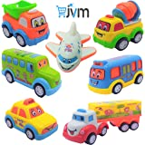 JVM Unbreakable Pull Back Car Toys Automobile Car Set for Kids - Set of 7