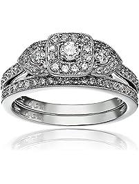 14k White Gold Diamond Halo Frame Bridal Set Ring (1/2cttw, H-I Color, I1-I2 Clarity), Size 7