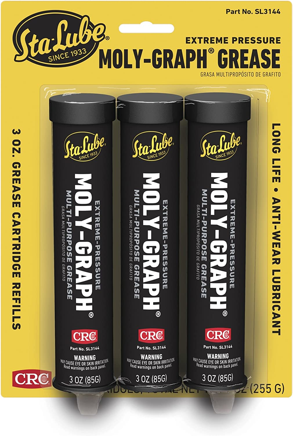 CRC SL3144 Moly-Graph Extreme Pressure Multi-Purpose Lithium Grease, 3 Oz, Pack of 3
