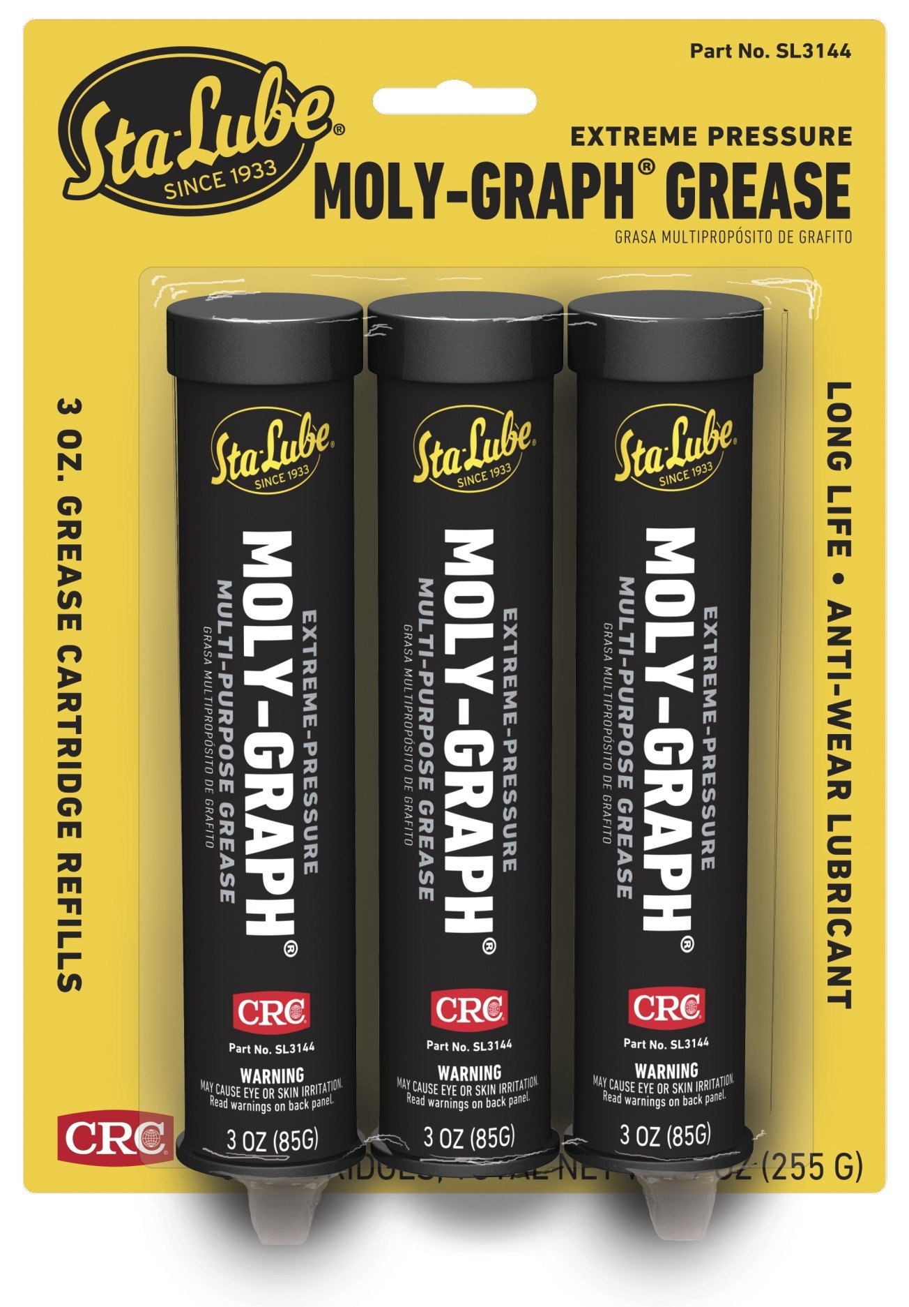CRC SL3144 Moly-Graph Extreme Pressure Multi-Purpose Lithium Grease, 3 Oz by CRC