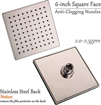 Fatcamel 6-Inch Brushed Nickel Square Rain Shower Head Stainless Steel Back And