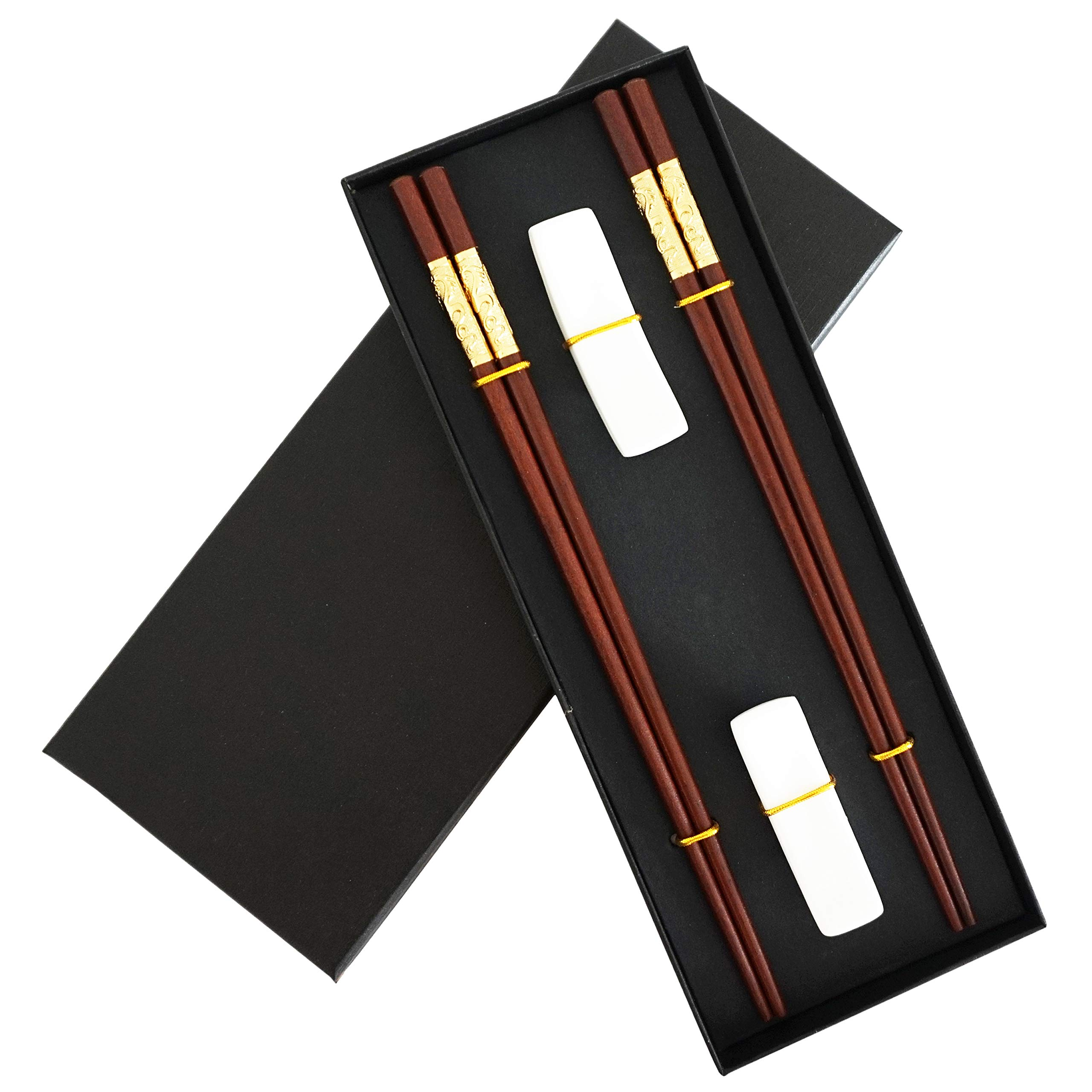 Chinese Dragon Chopsticks, Red Sandalwood, Reusable Classic Style, 2 Pairs Wooden Chopsticks with Holder and Case, Value Gift Set