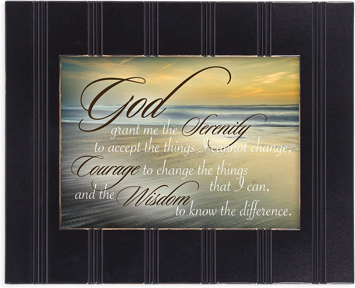 Cottage Garden Serenity Prayer Ocean Waves 8x10 Black Framed Art Wall Plaque Sign