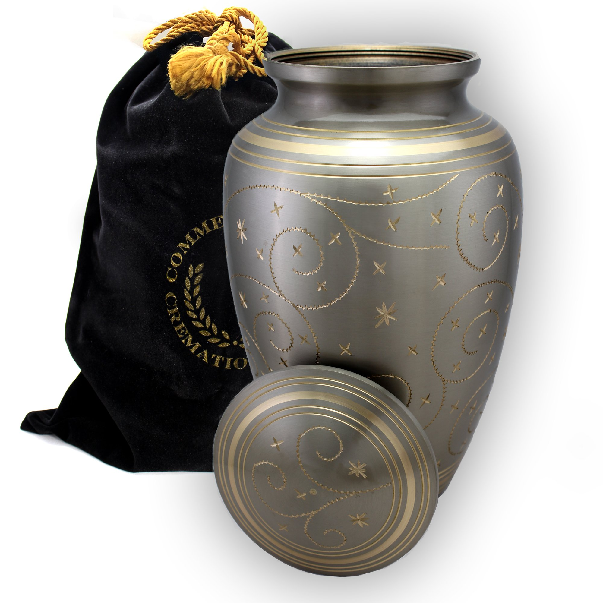 Star Light Brass Metal Funeral Cremation Urn for Human Ashes (Large) by Commemorative Cremation Urns (Image #4)