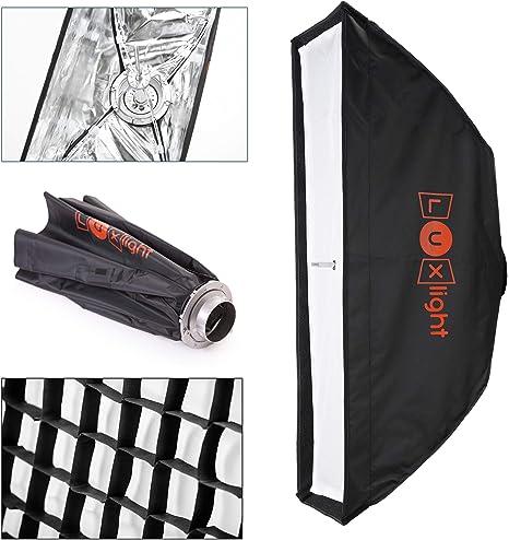60 x 90 cm softbox y cuadr/ícula dise/ño de Bowens en Forma de S para Estudio de fotograf/ía Moldeador de luz para Flash estrobosc/ópico monolight fotogeeks Paraguas f/ácil de Abrir