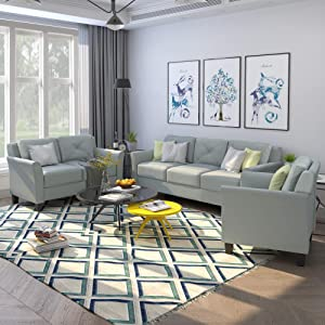 GAOPAN Piece Home Conversation Sectional Couch Set, Classic Design Upholstered Button Tufted 3 Seater Sofas, Soft Loveseat and Single Armchair for Living Room Furniture/Bedroom, Green-Gray