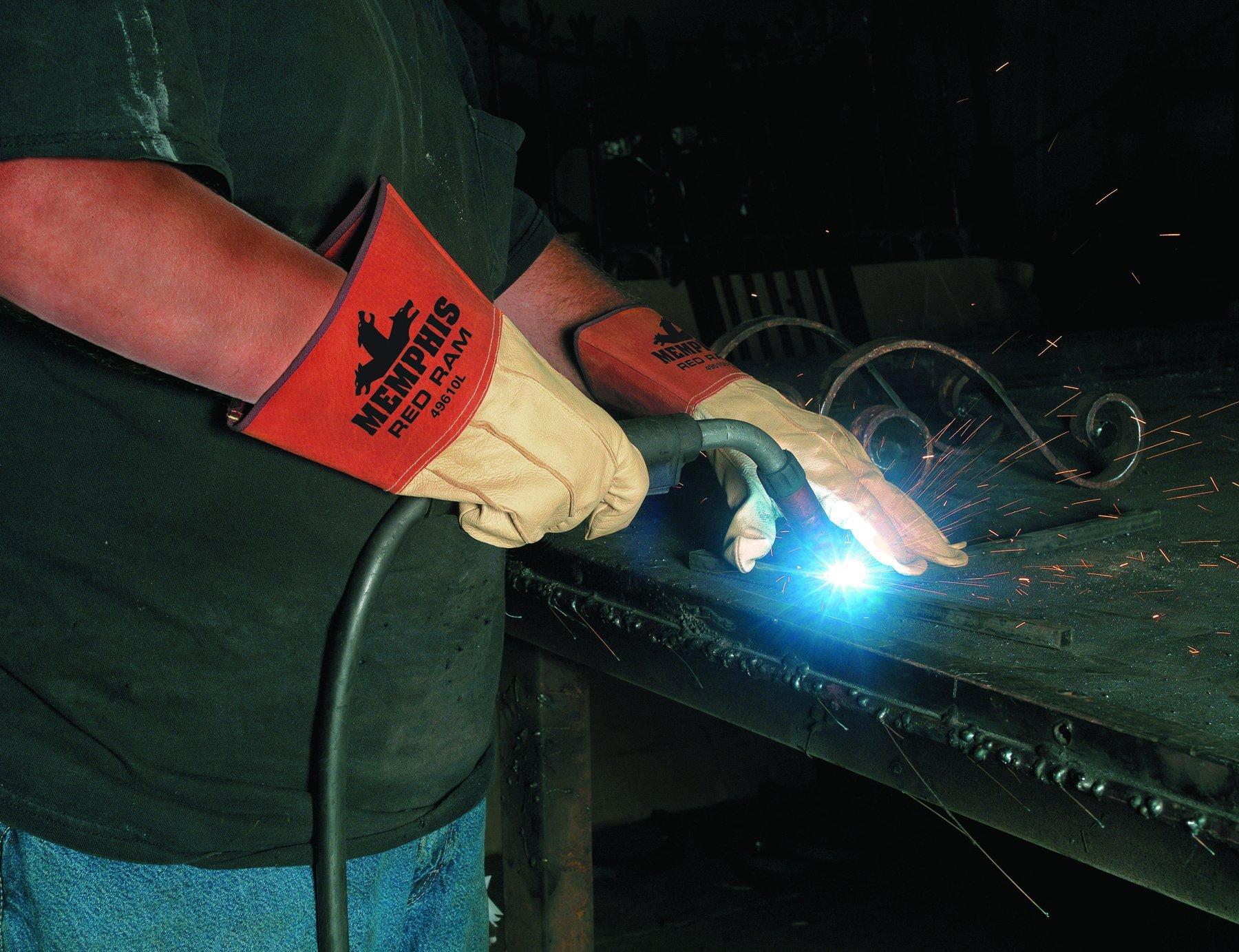 MCR Safety 49610L Red Ram Grain Pigskin MIG/TIG Welder Gloves with 4-Inch Gauntlet Split Pig Cuff, Cream, Large, 1-Pair by MCR Safety (Image #2)