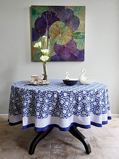 fd7f3515a Saffron Marigold Midnight Lotus Tablecloth 90 Round   Hand Printed   Floral  Medallion Versailles Blue Brocade