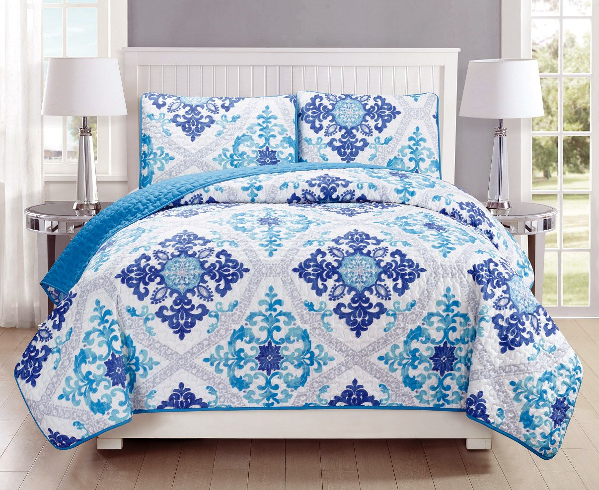 2-Piece Fine printed Quilt Set Reversible Bedspread Coverlet TWIN SIZE Bed Cover (Turquoise, Blue, White, Grey, Navy) by Grand Linen