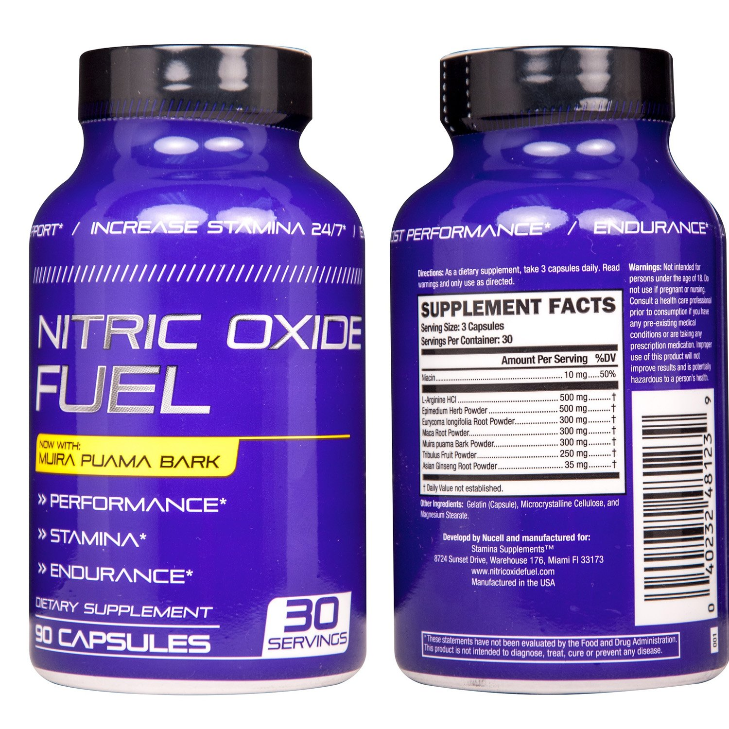 Nitric Oxide Fuel N.1 Effective Booster increase Energy, Stamina, Size, Physical Performance Extra Natural boost formula now with Muira Puama Increase Performance 90 Caps by Nucell (Image #3)