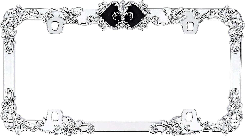 Chrome with Black Accent Cruiser Accessories 22835 Fleur De Lis License Plate Frame with Adjustable Emblem
