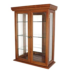 Design Toscano Country Tuscan Glass Wall Mounted Storage Curio Cabinet, 26 Inch, Hardwood, Walnut Finish