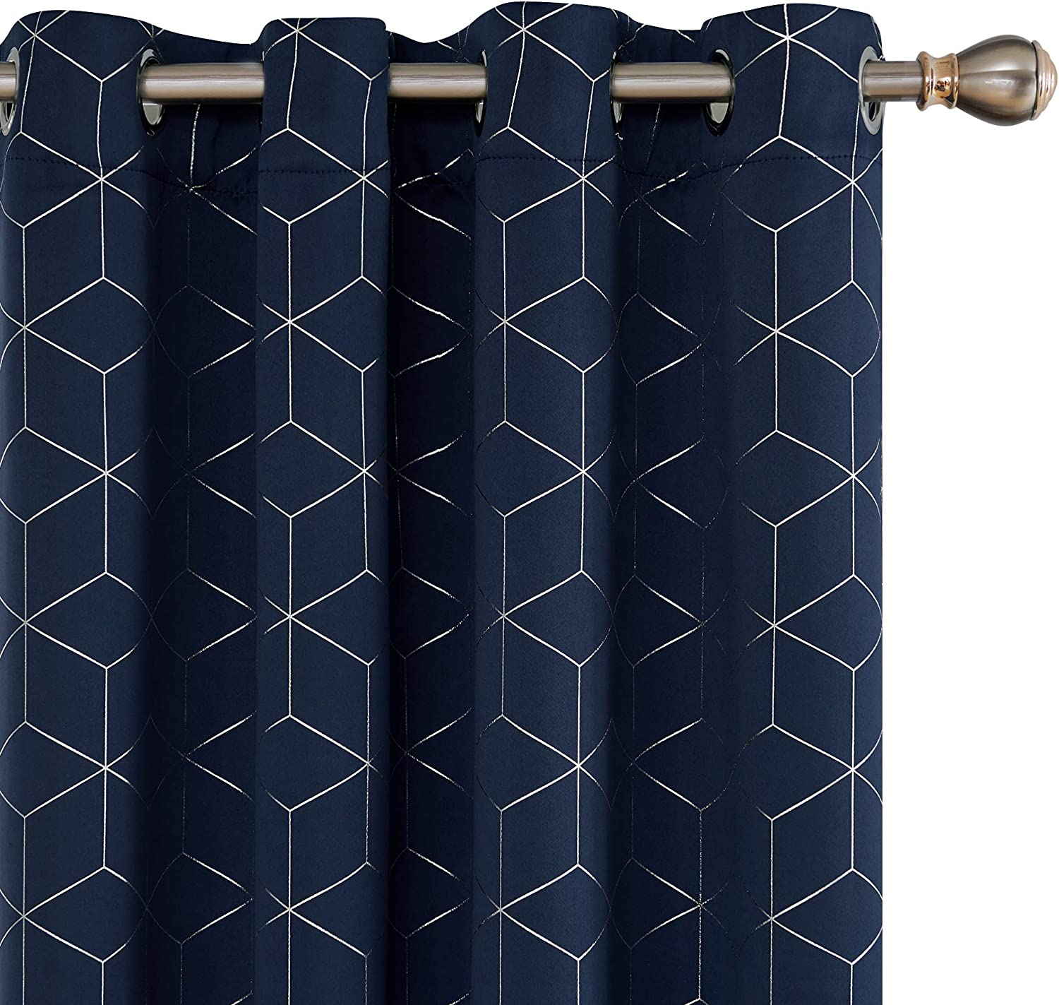 Deconovo Thermal Insulated Blackout Curtains Ring Top Curtains Diamond Foil Printed Curtains for Bedroom with Two Matching Tie Backs W66 x L54 Inch Grey One Pair