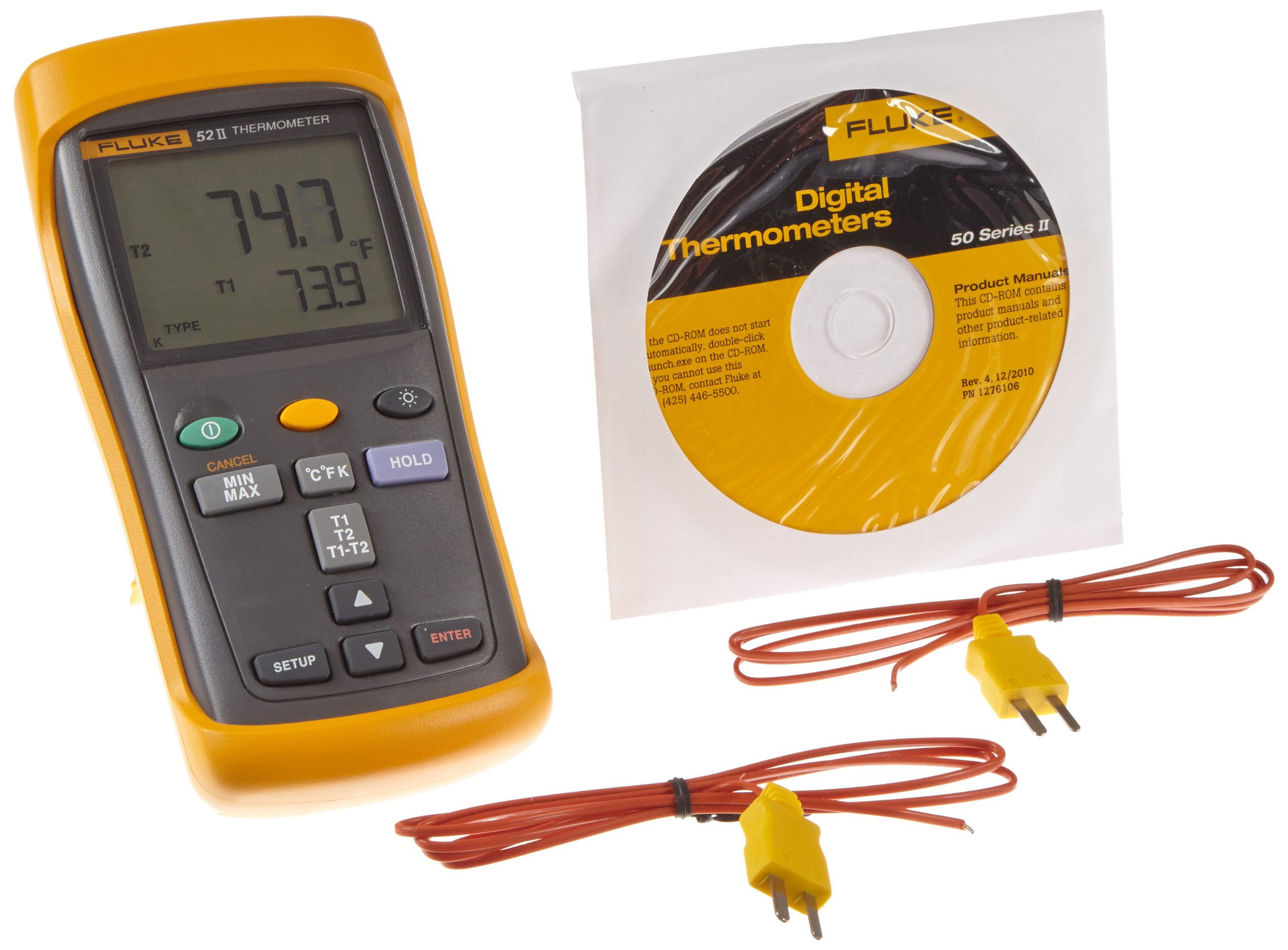 Fluke 52-2 Dual Input Digital Thermometer, 3 AA Battery, -418 to 2501 Degree F Range, 60 Hz Noise Rejection by Fluke