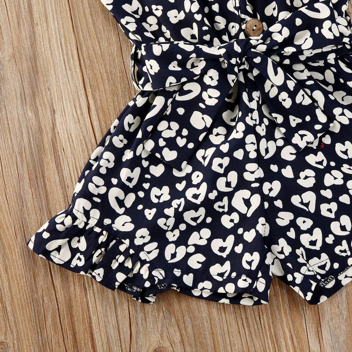 oklady Toddler Baby Girl Clothes Self Tie Sleeveless Romper Polka Dot Shape Print Short Jumpsuit Summer Outfit