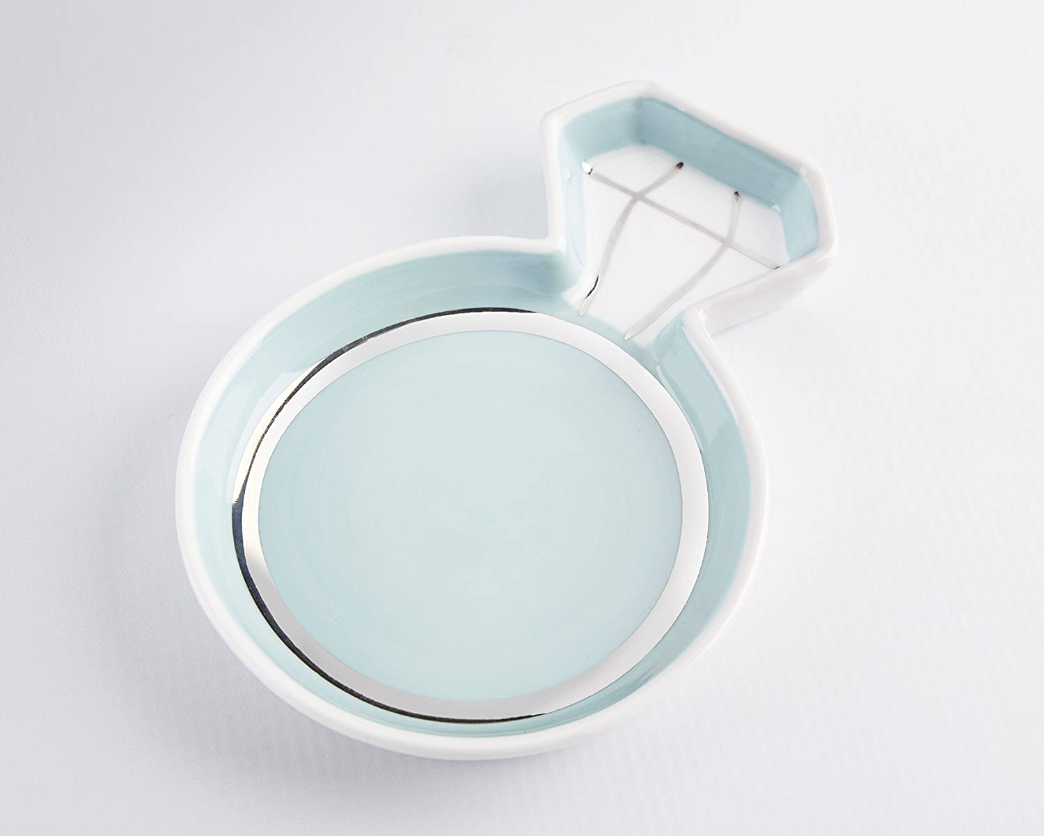 Kate Aspen, Diamond Ring Trinket Dish, Jewelry Holder Catchall Ceramic Gift, Perfect for Bridal Shower and Party