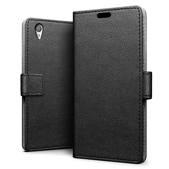 info for 9a46b ac29f SLEO Sony Xperia L1 Case Luxury Slim PU Leather Flip Protective Magnetic  Wallet Cover Case for Sony Xperia L1 with Card Slot and Stand Feature -  Black