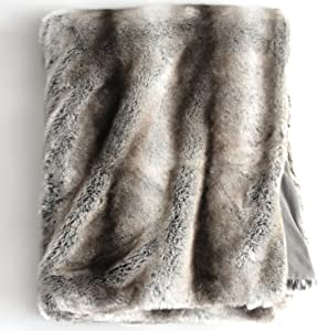 Luxury Faux Fur Oversized Throw Blanket with Plush Velvet Reverse, Fox Lynx or Gray Mink (Gray Chinchilla)