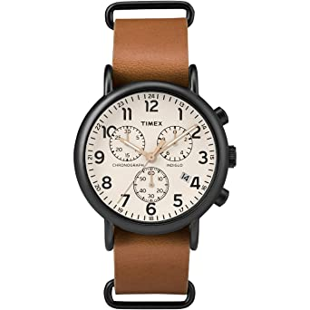 f49e44a05 Timex Men's TW2T29300 Weekender Chrono Tan/Black/Cream Two-Piece Leather  Strap Watch