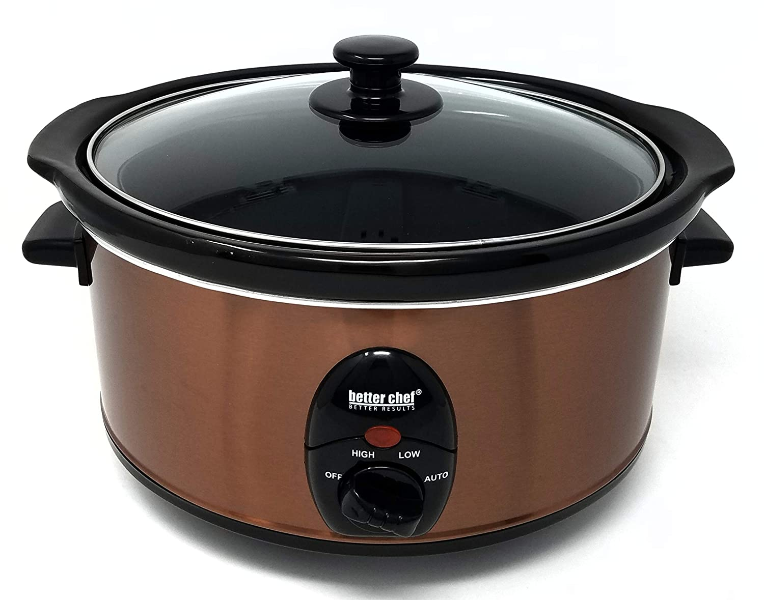 BETTER CHEF, IMPRESS, IM-456C, 3.5 LITER SLOW COOKER COPPER METALLIC WRAP BLACK REMOVABLE STONEWARE CROCK 3.7 QUART SIZE