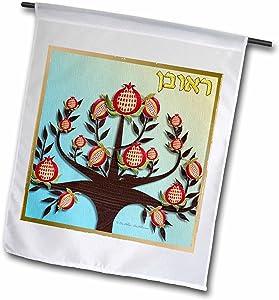 3dRose Lee Hiller Designs Judaica - 12 Tribes of Israel Art Print Reuben - 18 x 27 inch Garden Flag (fl_107265_2)