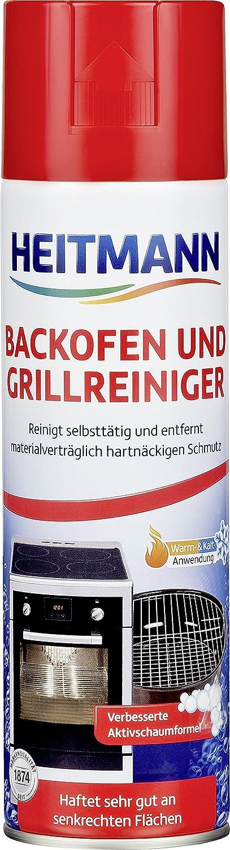 HEITMANN Backofen- und Grillreiniger: löst hartnäckigen Schmutz, ideal für Backöfen, Back- und Auffangbleche, Grills, Roste, Herdplatten, Töpfe, Pfannen - Aktivschaum für die Warm- und Kaltreinigung ideal für Backöfen Töpfe Brauns-Heitmann