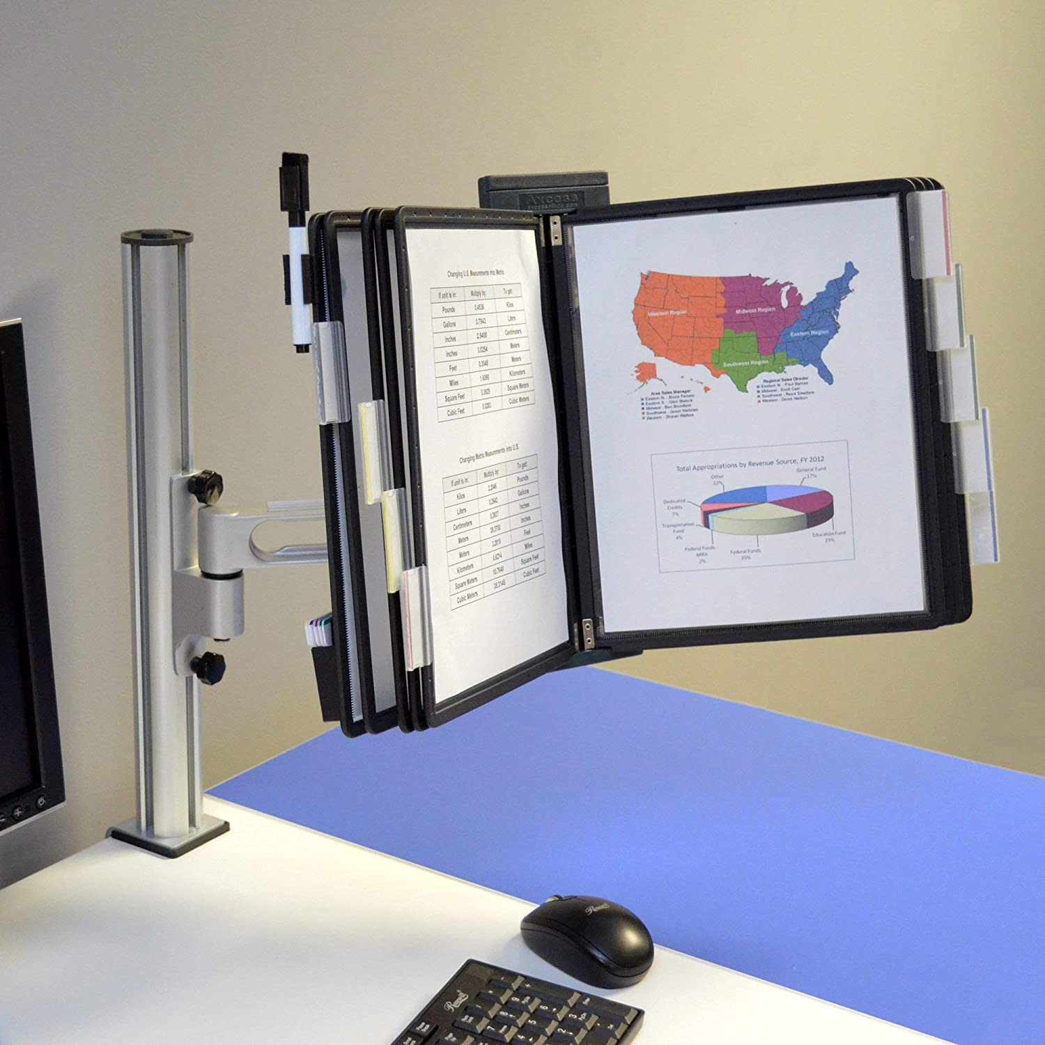 20-Pocket Desk Clamp Arm Reference Organizer with Post Ultimate Office Outpost 1-Link Black w//Assorted Pockets