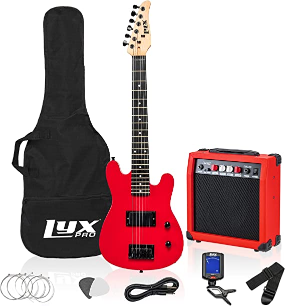 LyxPro 30 Inch Electric Guitar and Starter Kit Bundle for Kids with 3/4 Size Beginner's Guitar