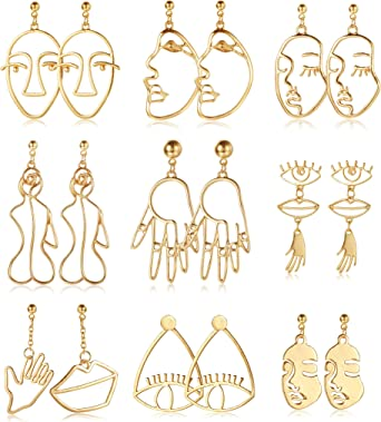 YADOCA 12 Pairs Face Hand Earrings for Women Hollow Statement Geometric Fun Abstract Art Earrings