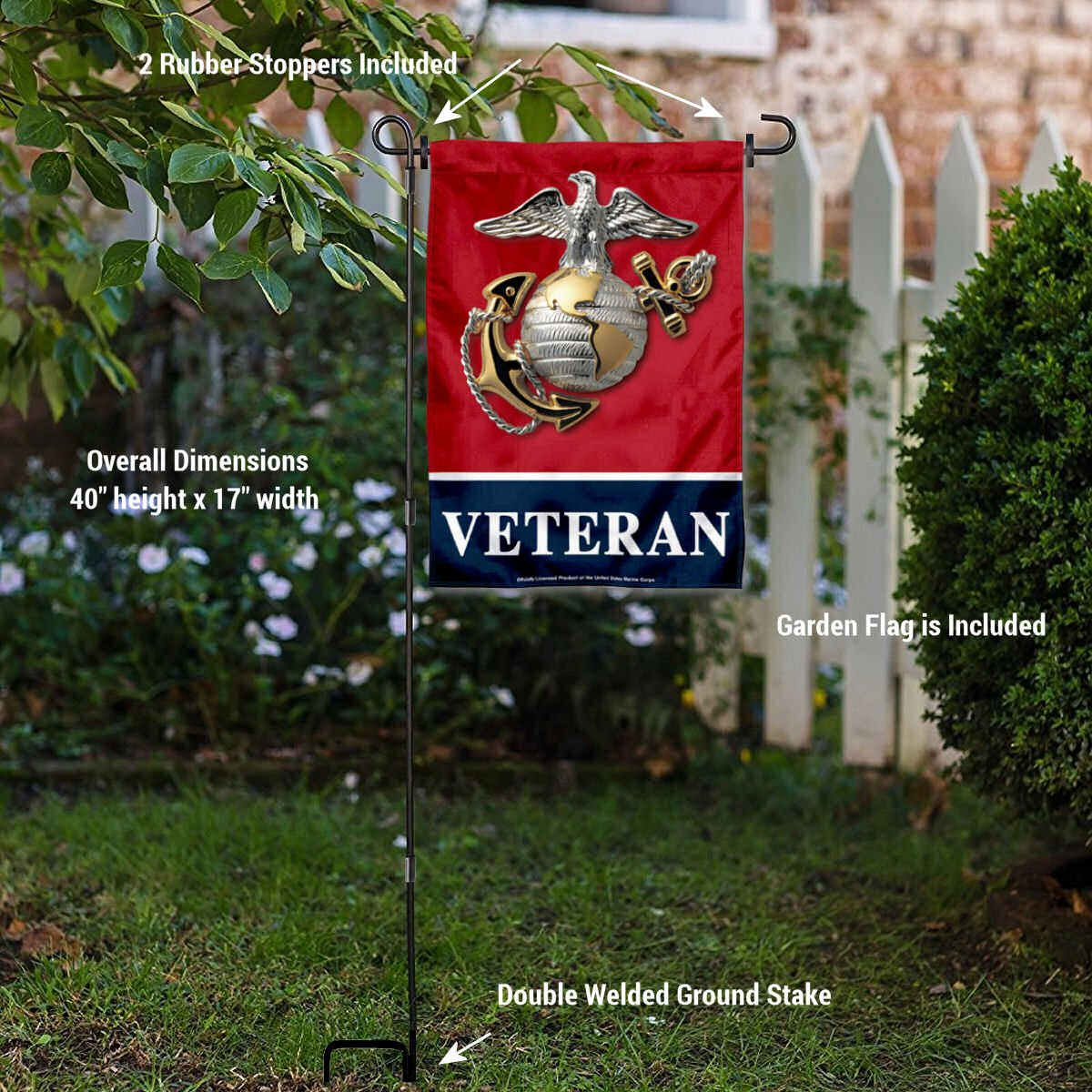 US Marines Corps Veteran Garden Flag with Stand Holder
