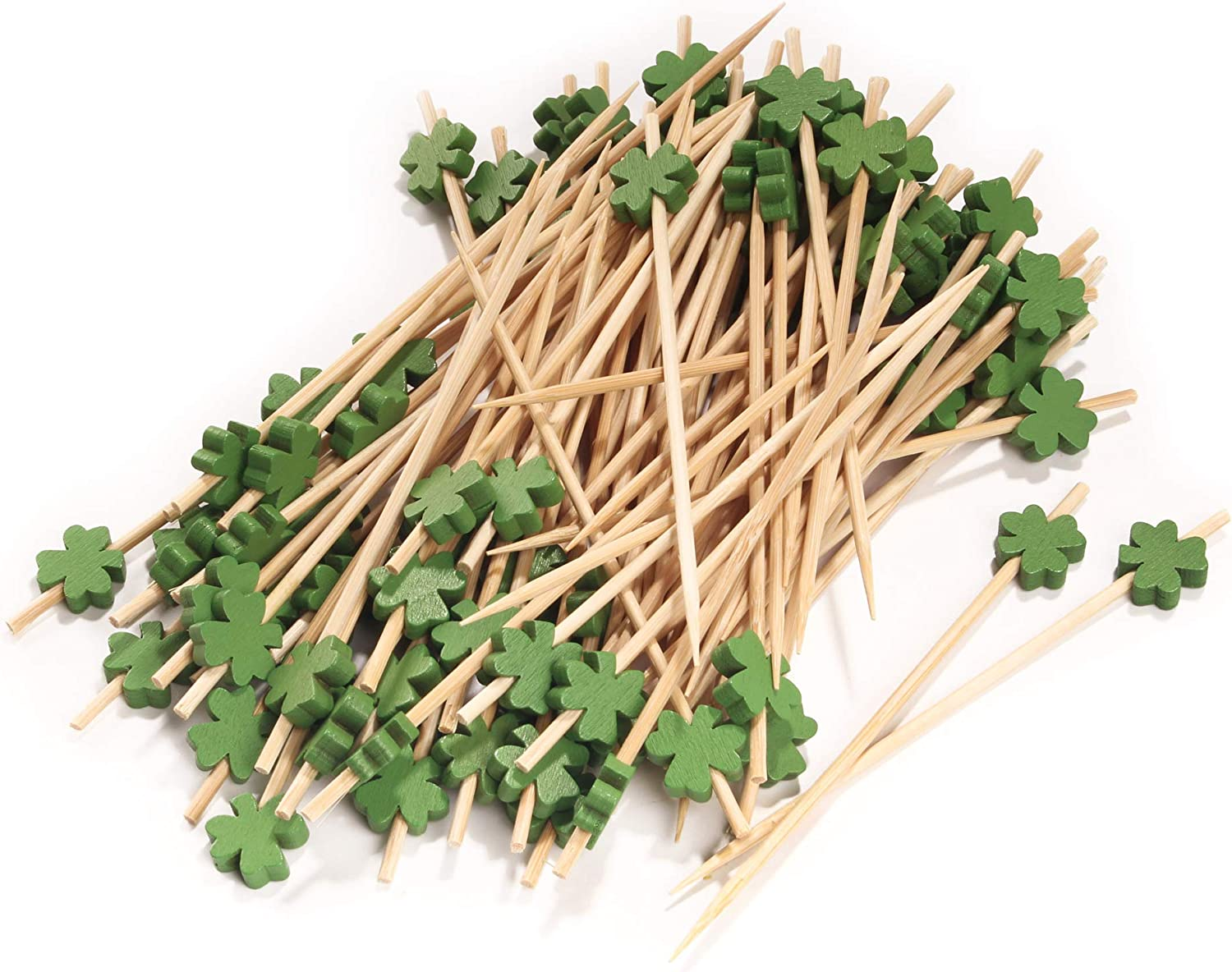 Luck of The Irish Party Supplies BambooMN 5.9 Inch Decorative Green Clover Bamboo Cocktail Sandwich Fruit Swizzle Picks 300 Pieces