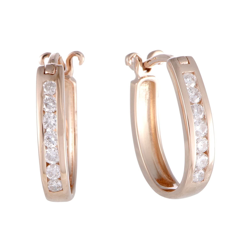~ .25ct Small 14 Kローズゴールドダイヤモンド楕円フープイヤリング B0792H9DSM