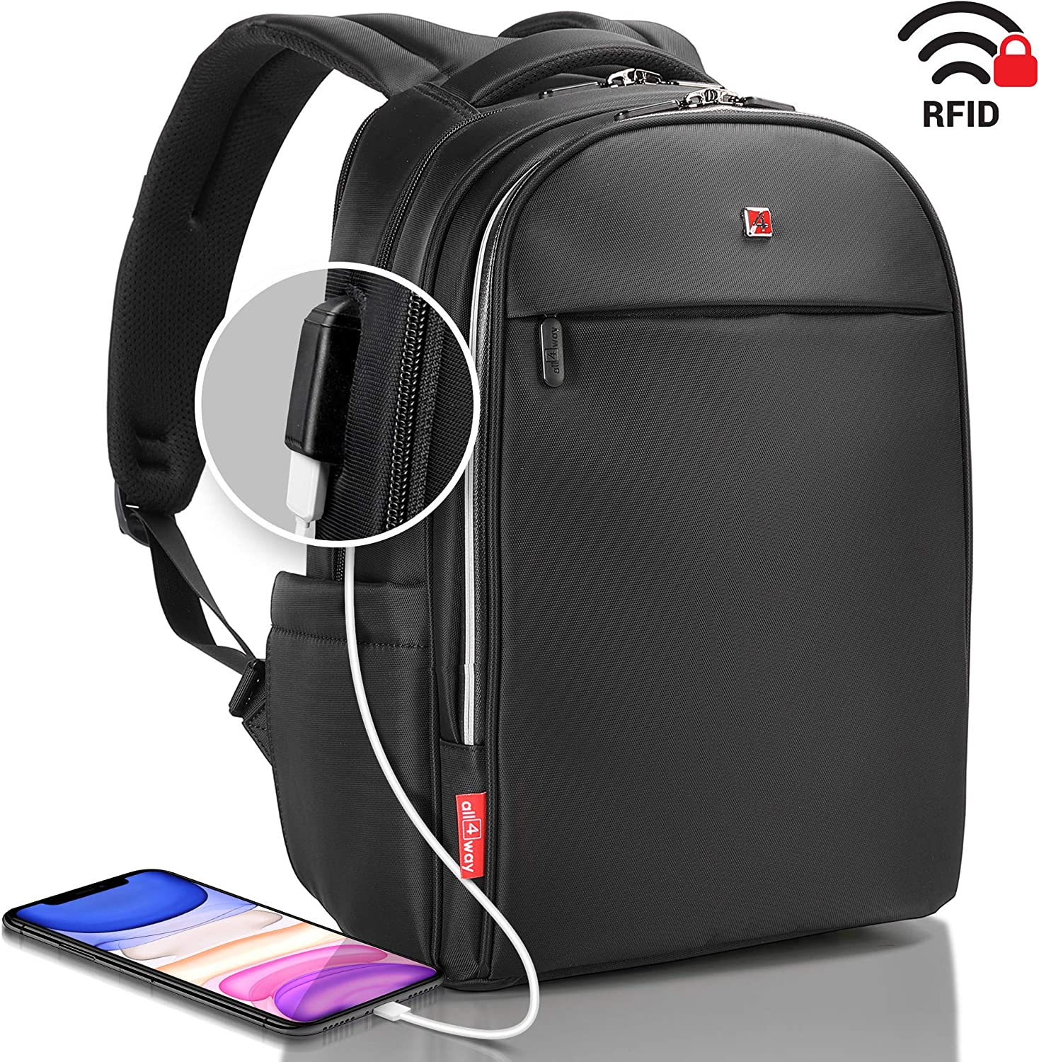 "Laptop Backpack Black RFID Blocking - Travel Backpack USB Quick Charge - Swiss Design 15"" Business College School Waterproof Backpack for Men Women, New Model"
