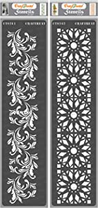 CrafTreat Floral Border Stencils for Painting on Wood, Canvas, Paper, Fabric, Floor, Wall and Tile - Border5 and Border6-2 Pcs - 3x12 Inches Each - Reusable DIY Art and Craft Stencils Borders
