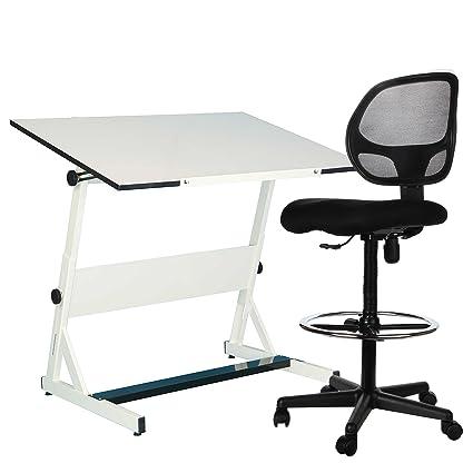 Genial Sleekform Drafting Chair | Adjustable Stool With Wheels For Tables U0026 Standing  Desks | Reclining Backrest