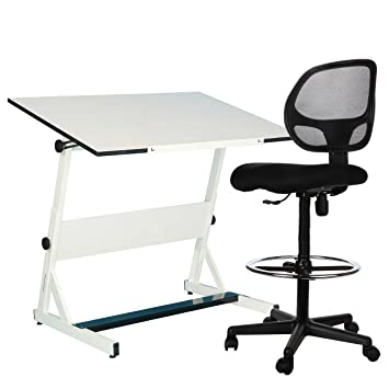Sleekform Drafting Chair | Adjustable Stool With Wheels For Tables U0026 Standing  Desks | Reclining Backrest