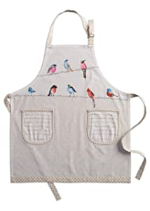Maison d' Hermine Birdies On Wire 100% Cotton Apron with an Adjustable Neck & Two Side Pockets, 27.50 - inch by 31.50 - inch
