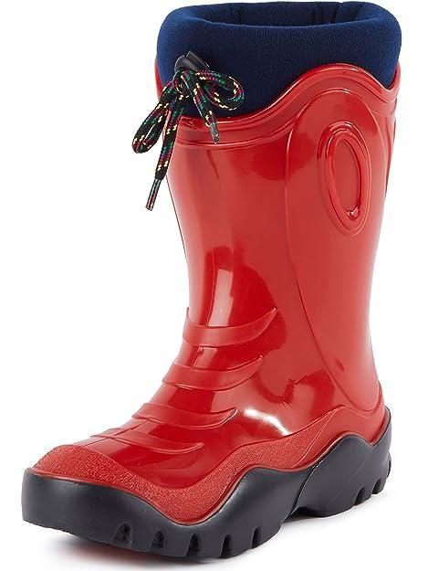 Ladeheid Botas de Agua Zapatos de Seguridad Unisexo Niños LABN180 (Rojo, EU 28/