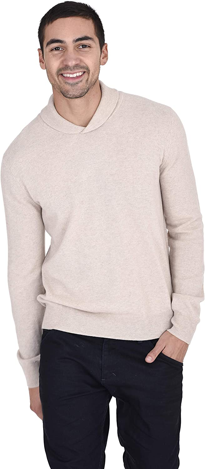 State Fusio Men's Relaxed Fit Shawl Collar V Neck Sweater Cashmere Merino Wool Long Sleeve Pullover